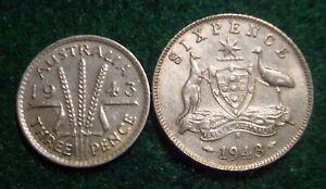 HI GRADE 1943 STERLING SILVER 3 & 6 PENCE AUSTRALIA***