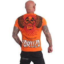 Neues Yakuza Herren Burning Skull T-Shirt – Red Orange