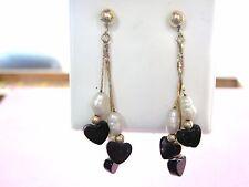 LQQK Beautiful 14k real Yellow GOLD Drop Dangle Earrings w/ Biwa Pearls Must See