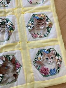 """NEW Lap Quilt Cats Kittens for Elderly Baby Toddler Blanket Wall Hanging 22x36"""""""
