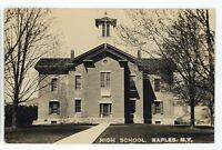 RPPC High School NAPLES NY Finger Lakes Ontario County Real Photo Postcard 1