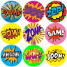 144 Superhero Action Words - Comic Themed Teacher Reward Stickers - Size 30mm