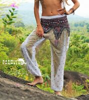Harem Hippie Pants Peacock Feather White Yoga Festival Aladdin Boho Gypsy Comfy
