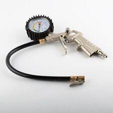 Air Tire Inflator Chuck w/Dial Pressure Gauge Hose Car Truck Bike Tool