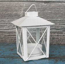 kleine Laterne Metall weiß Teelicht Windlicht Metalllaterne Hochzeit Basteln NEU
