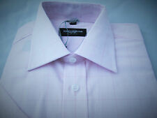 "Mens Russell Collection Cotton Shirt.15"". Pale Pink Large Check. New"