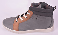 Ecco Boys Shay Grey Nubuck Leather Zip & Lace Trainers UK 2 EU 34 US 3