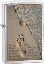 Zippo Windproof Footprints In The Sand Chrome Lighter, 28180, New In Box