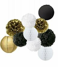 Wcaro Mixed Gold Black White Party Decor Kit Paper lantern Paper Honeycomb Balls