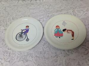 Vintage, Ideal, Childs, 2-pc 6in D, White Plates with Biker and Colonial Couple