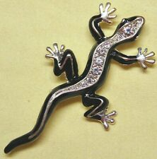 Vintage Stunning Silver Tone Clear Crystal Enamel Lizard Pin Brooch