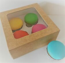 4 X CUPCAKE BOXES HOLDS 4 Cup  Cakes with Clear Window  FESTIVE Sugarcraft