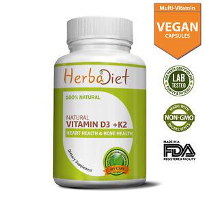 Vitamin D3 + K2 (MK7) Bone & Heart Health Muscular Support Non-GMO Veg Capsules