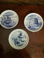 "Vintage Delft Boch Tea Plates Dutch Scenes Set of 3- 6.5"" Beautiful- Vintage!"