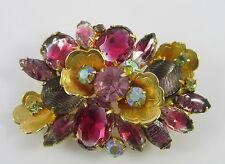Vintage Juliana D&E Big Flower Pin Brooch Foil Art Glass Leaves Two Tone Stones