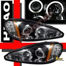 99-05 Pontiac Grand AM Dual CCFL Halo Angel Eyes LED Projector Headlights Black