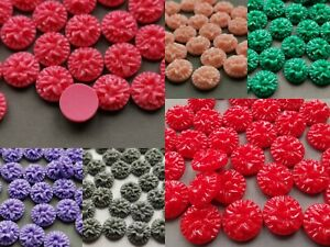 Resin flower cabochon flat back various colours 13 mm pack of 12