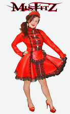 Misfitz red leather look padlock straitjacket maids dress sizes 8-32 or custom