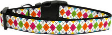Mirage Pet Products, Colorful Argyle Ribbon Dog Collars Medium