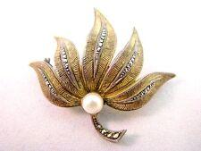 Art Deco Brosche Silber 925 Perl + Markasit Silver Brooch Theodor Fahrner TF