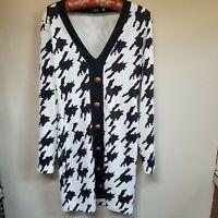 CBR Black & White Tunic Top / Dress V-Neck Button Front Long Sleeve Sz Large.