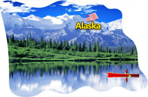 Alaska View Fridge Magnet Flag Epoxy Travel Souvenir