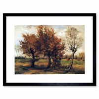 Van Gogh Autumn Four Trees 1885 Framed Art Print Picture Mount 10 12x16 Inch
