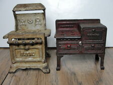 VINTAGE -2 CAST IRON MINIATURE DOLLHOUSE KITCHEN STOVES