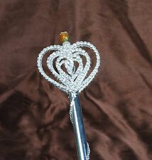 Heart Scepter Wand Clear Rhinestones Crystal Sceptre Art Deco Pageant Party Prom