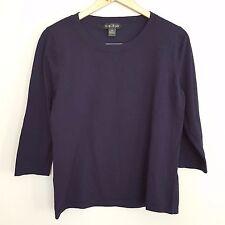 Women's August Silk XL Navy Blue 3/4 Sleeve Crewneck Silk Blend Blouse Sweater