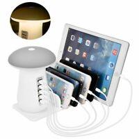 110V 5 Port USB Charging Station with Mushroom LED Desk Lamp 3.0 Quick Charge US