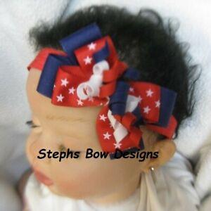 Red White Light Navy Dainty Layered Korker Hair Bow Headband Preemie 2 Toddler