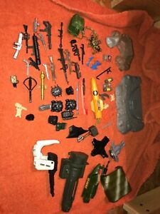 Large Lot of GI Joe Accessories 80s TMNT Backpacks Guns Weapons