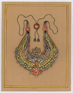 Indian Handmade Jewellery Painting Gold Work Traditional Original Paper Painting