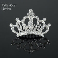 Crystal Tiara Crowns Hair Veil Comb Rhinestone Wedding Bridal Pageant Headband