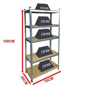 5 Tier Shelf Shelving Unit Racking Boltless Industrial Garage Storage Shelves