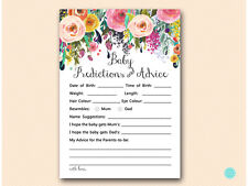10 x PRINTED - Floral Chic Baby Shower Baby Predictions and Advice TLC140