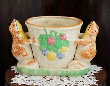 Vintage Whimsical Japanese Majolica Vase SPONGE HAND PAINTED Frogs Made In Japan