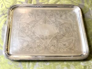 CHRISTOFLE ANTIQUE SILVERPLATED 19TH C. RECTANGULAR  COCKTAIL SERVING TRAY RARE
