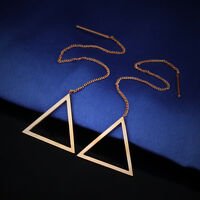 Tassels Hollow Triangle Rose Gold GP Surgical Stainless Steel Threader Earrings