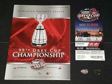 2011 CFL GREY CUP LOT PROGRAM TICKET STUB PINS BC LIONS WINNIPEG BLUE BOMBERS