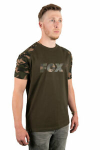 FOX NEW Camo / Khaki Carp Fishing T-Shirt - Raglan Style - All Sizes