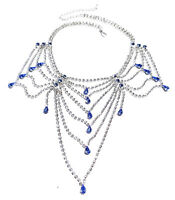 Blue Rhinestone Austrian Crystal Choker Necklace