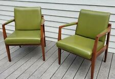 Set of 2 B.L. Marble MCM Mid Century Modern Arm Chairs Avocado Green (Danish)