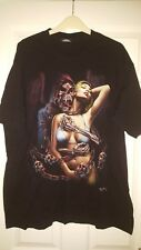 Mens T-Shirt Top - Rock Chang - Skeleton With Woman In Bikini - Black - Size XL