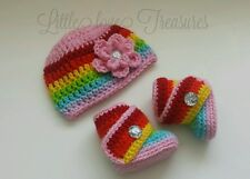 NEW Newborn Baby Girl Rainbow Hat and  Booties Spring Crochet Photo Prop Gift
