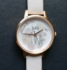 Olivia Burton Watch Wit 30mm White Cat Print Face & Off White Leather Band