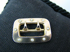 a702 Lovely 14k Yellow Gold False Buckle studded with Seed Pearls