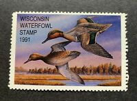 WTDstamps - 1991 WISCONSIN - State Duck Stamp - Mint OG NH _