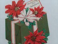 50s Vtg Die Cut GLITTER Gift Box Shape GRANDDAUGHTER CHRISTMAS GREETING CARD